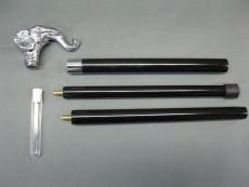 Gehstock aus schwarzem Hartholz, Metallgriff Elefant