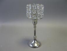 Kerzenständer sibern mit Kristallen 23 cm hoch Durchmesser 9 cm