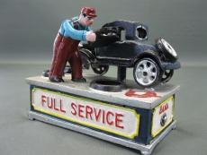 Gusseisen Spardose im Antikstil Autowerkstatt Mechaniker Mechanische Sparbüchse