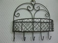 Wandkorb  Metall 27 cm hoch mit 5 Haken