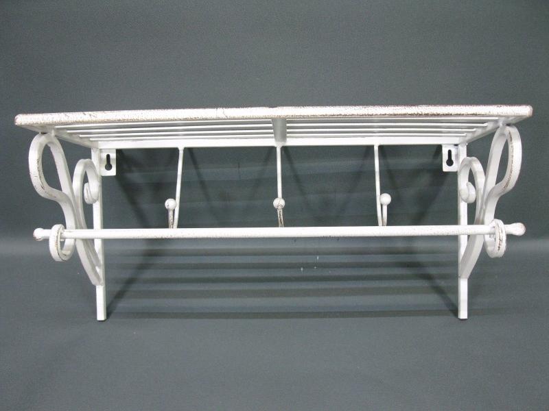 Garderobe Hutablage Aus Metall Haken 40 Cm X 18 Cm Loft Weiss