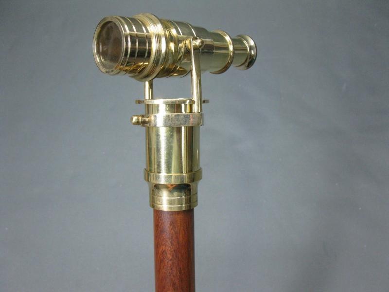 Gehstock Wanderstock   LARP  mit innenliegendem  Fernrohr  Messing Fernglas 96cm