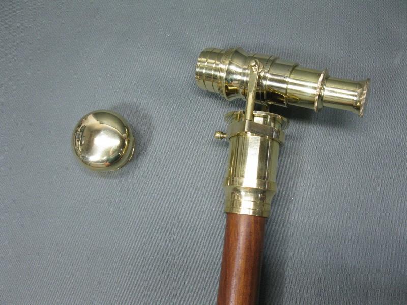 Gehstock Wanderstock  LARP  mit innenliegendem  Fernrohr  Messing Fernglas 96 cm