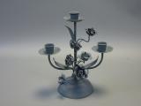 Kerzenleuchter Kandelaber 3 Arme Blumenmuster 25 cm hoch