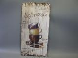 Vintage Wandbild mit Kaffeetassen 80cm x 40cm