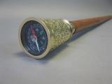Vintage Gehstock Wanderstock, Messing Edelholz Kompass 95cm