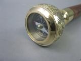 Vintage Gehstock Wanderstock Messing Edelholz Kompass 93cm