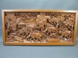 Altes Asiatisches Relief aus Teakholz geschnitzt 102 cm Handarbeit Rarität