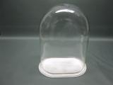 Glashaube, oval mit Holz Sockel 33 cm