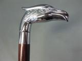 Gehstock Wanderstock Spazierstock silbern zerlegbar und Geheimfach 89 cm Adler