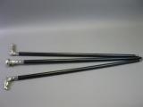 3 Spazierstöcke Gehstock Wanderstock silbern schwarz Set Konvolut Sammlung