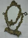 Messing Spiegel Schminkspiegel Standspiegel 35cm