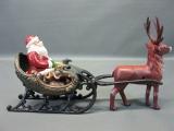 Gusseisen Weihnachtsmann mit Rentier Schlitten Gespann 38 cm 3 Kg Weihnachten