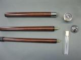 Holz Gehstock Wanderstock Spazierstock silbern zerlegbar und Geheimfach 93 cm
