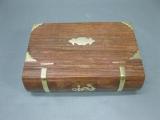 Edelholz Schmuck Schatulle mit Messingeinlage Schatztruhe Holzbox Spardose 21cm