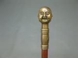 Messing Bronze Gehstock asiatisch Buddha 4 Gesichter Spazierstock Edelholz 1 m