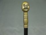 Messing Bronze Gehstock asiatisch Buddha 4 Gesichter Spazierstock schwarz 1 m