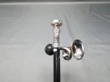 Männertag Gehstock silbern schwarz 97 cm Spazierstock mit Ballhupe Steampunk