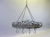 Küchenhänger Baldachin Speckhaken Metall 60 x 35 cm shabby chic oval mit Kette