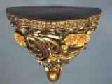 Goldene Venezianische Wandkonsole 16 cm Regal Konsole Wandpodest floral