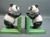 1 Paar Buchstützen Panda Gusseisen 13 cm