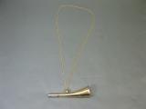 Messing Stethoskop Hörrohr Hearing Pipe Hörmaschine Ear Trumpet 15 cm mit Kette