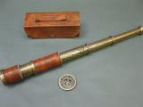 Messing Teleskop Fernrohr Piratenfernrohr 42cm mit Lederbezug geprägt und Tasche